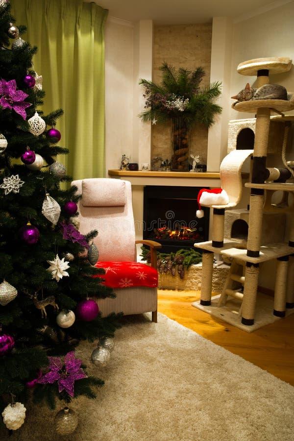 Sala de visitas decorada para comemorar o Natal e o ano novo chris imagens de stock