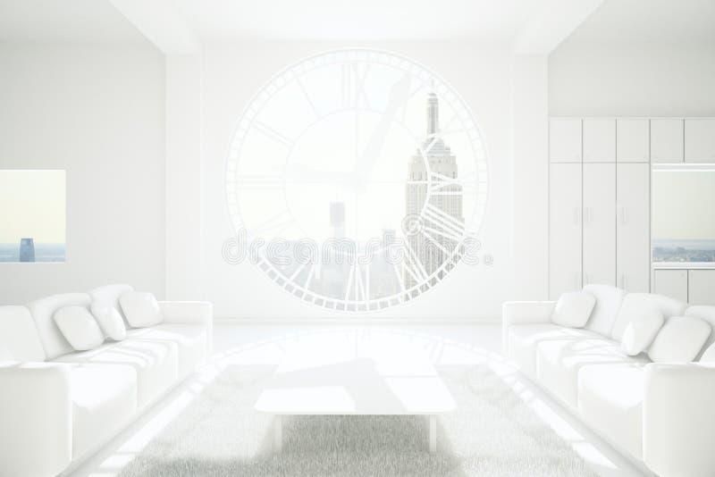 Sala de visitas do branco de Minimalistic ilustração do vetor