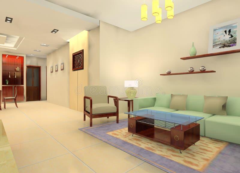 Sala de visitas do estilo de China ilustração do vetor