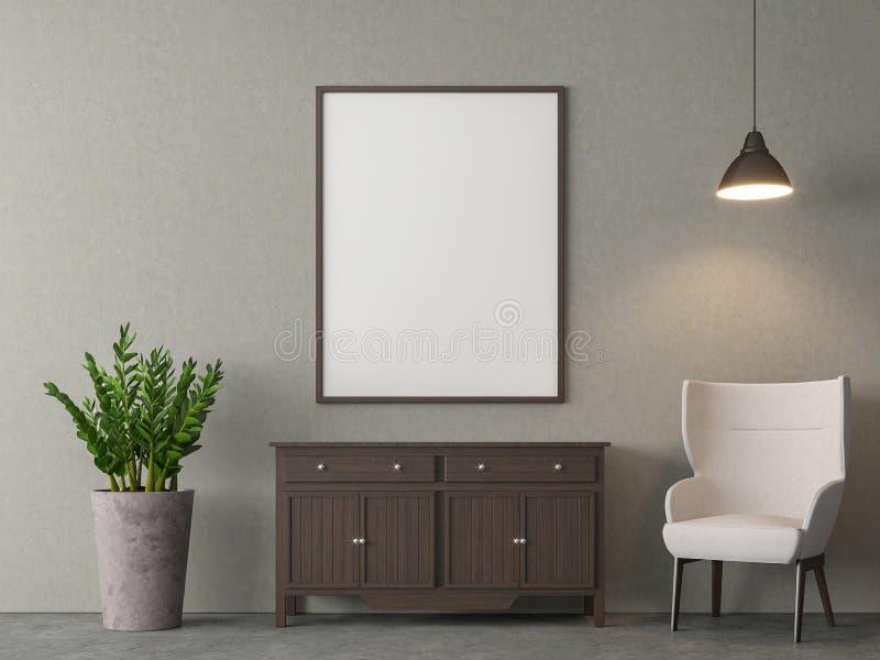 A sala de visitas do estilo do sótão com moldura para retrato vazia 3d rende ilustração do vetor
