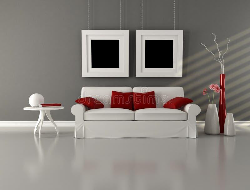 Sala de visitas do minimalist do branco cinzento e do vermelho ilustração stock