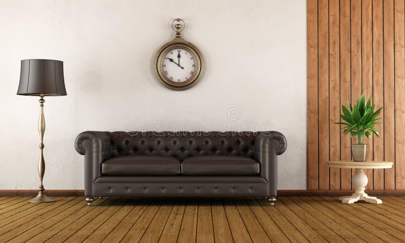Sala de visitas do vintage com sofá clássico ilustração royalty free