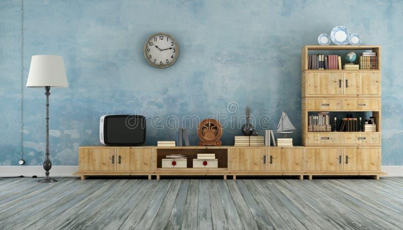 Sala de visitas do vintage com televisão pequena ilustração stock