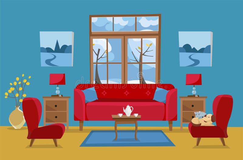 Sala de visitas em cores azuis vermelhas amarelas Sofá vermelho com tabela, nightstand, pinturas, lâmpadas, vaso, tapete, grupo d ilustração do vetor