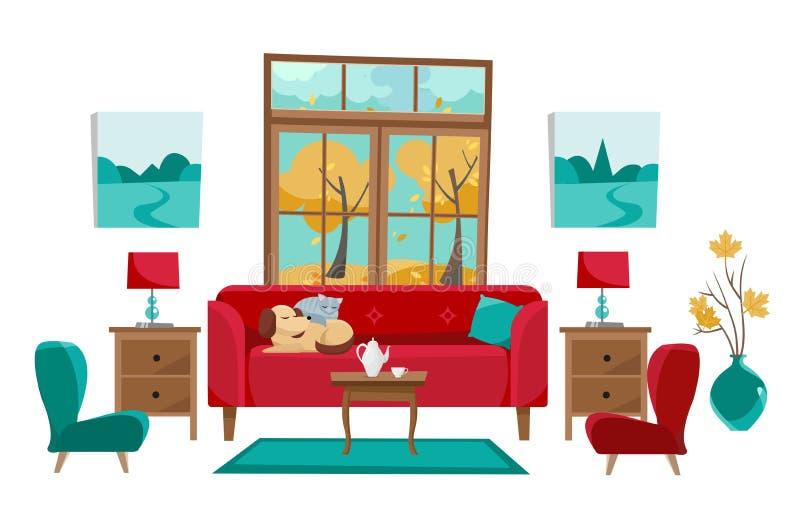 Sala de visitas em cores vermelhas amarelas de turquesa Sofá vermelho com tabela, nightstand, pinturas, lâmpadas, vaso, tapete, g ilustração royalty free