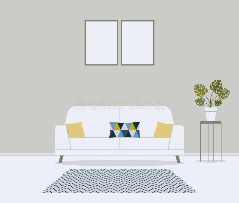 Sala de visitas escandinava minimalistic moderna do estilo Mobília para o interior da casa: sofá, sofá, coxins no teste padrão bo ilustração stock