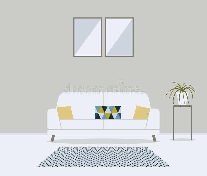 Sala de visitas escandinava minimalistic moderna do estilo Mob?lia para o interior da casa: sof?, sof?, coxins no teste padr?o bo ilustração stock
