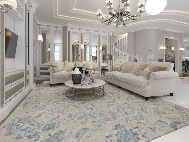 Sala de visitas espaçoso e luxuosa ilustração royalty free