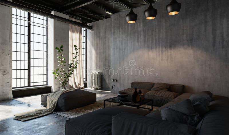 Sala de visitas espaçoso no estilo do sótão ilustração stock