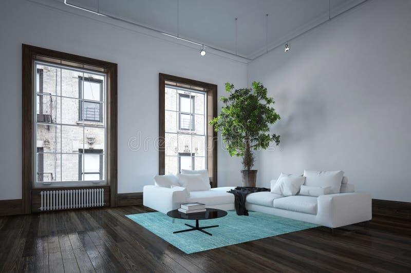 Sala de visitas espaçoso no interior minimalista ilustração do vetor