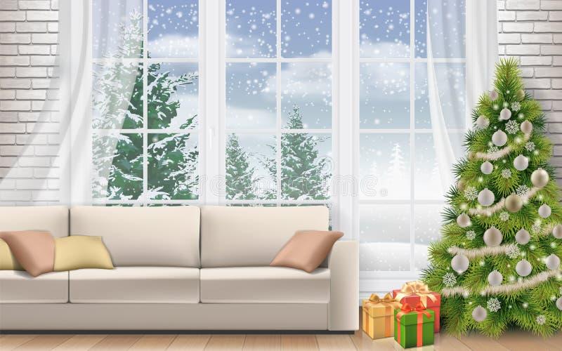 Sala de visitas interior com a árvore de Natal decorada ilustração royalty free