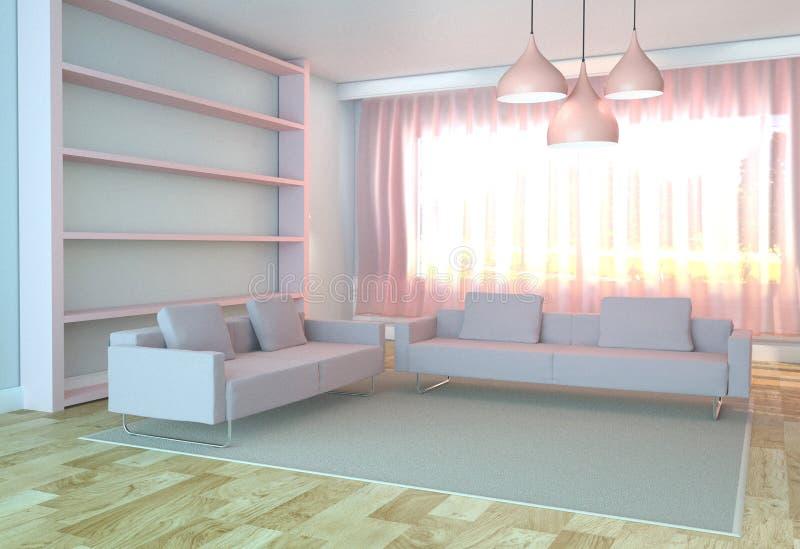 Sala de visitas interior com sofá e tapete, estilo cor-de-rosa, assoalho de madeira no fundo branco da parede rendi??o 3d ilustração stock