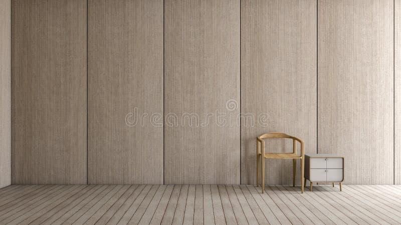 Sala de visitas interior moderna do sótão com da luz de madeira do assoalho da cadeira a parede de madeira para a rendição do mod ilustração stock