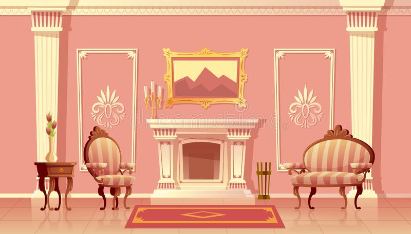 Sala de visitas luxuosa do vetor com chaminé ilustração do vetor