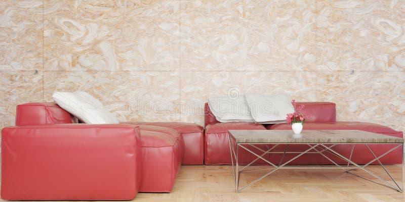 Sala de visitas mínima com grupo de couro vermelho do sofá e ilustração de mármore da parede 3D ilustração stock