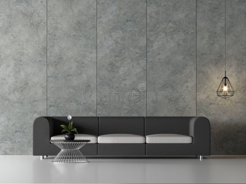 A sala de visitas mínima 3d do sótão rende, lá é muro de cimento lustrado com sulco vertical ilustração do vetor
