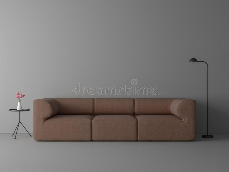 A sala de visitas mínima do estilo com o sofá marrom vermelho 3d da tela rende ilustração royalty free