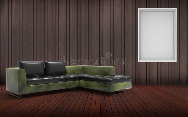 Sala de visitas mínima e Sofa Desing And Green Texture ilustração do vetor