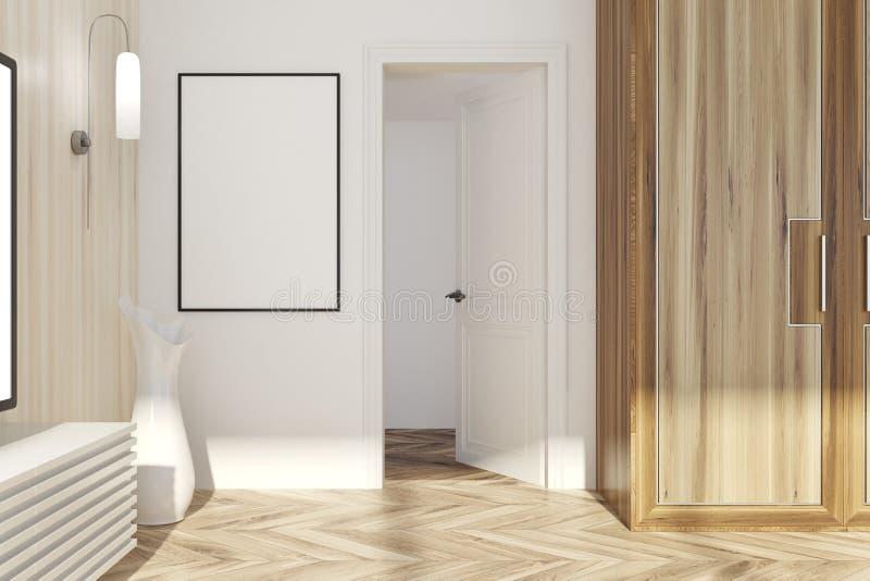 Sala de visitas de madeira branca e clara, porta ilustração royalty free