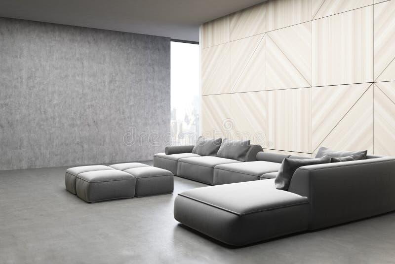 Sala de visitas de madeira e concreta, sofás ilustração royalty free