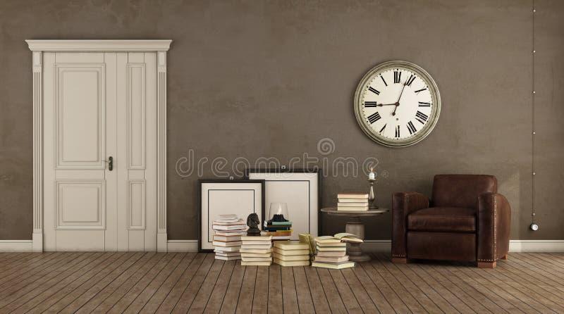 Sala de visitas marrom retro ilustração do vetor