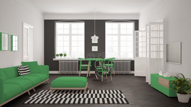 Sala de visitas minimalista brilhante com sofá e mesa de jantar, scandi fotografia de stock