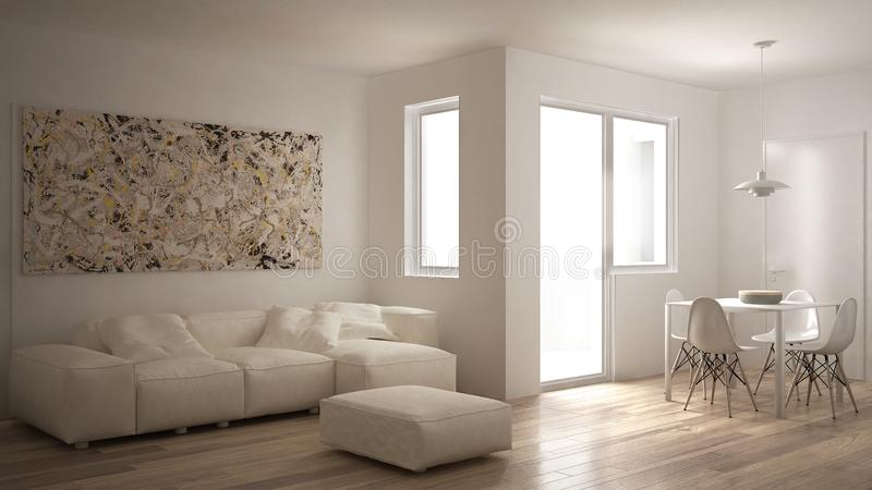 Sala de visitas minimalista com sofá, mesa de jantar e cadeiras, janela grande, interior moderno branco da arquitetura ilustração royalty free