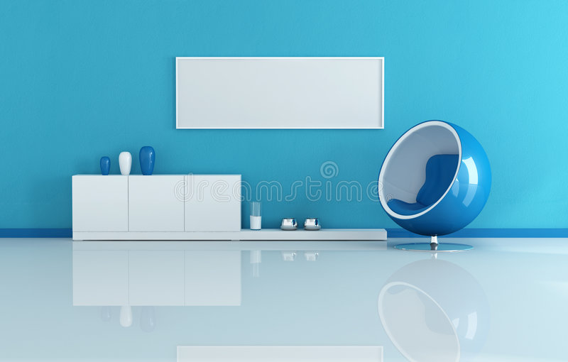 Sala de visitas moderna azul ilustração stock