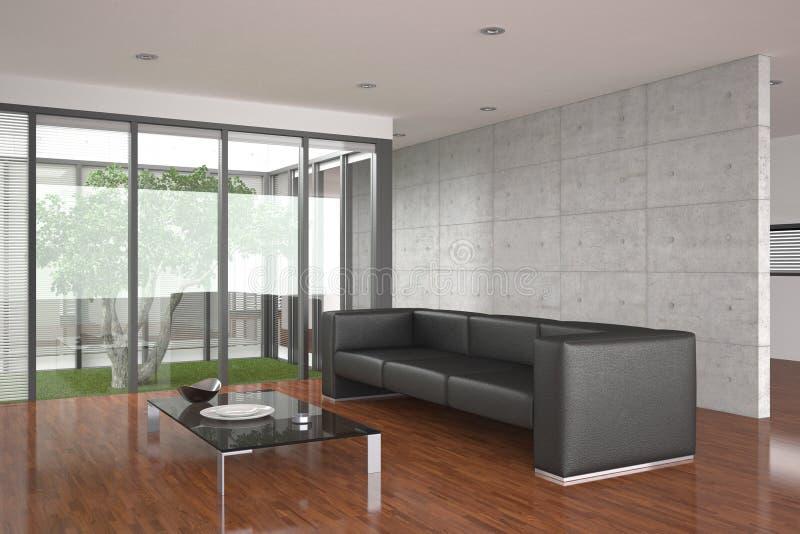 Sala de visitas moderna com assoalho de parquet ilustração do vetor