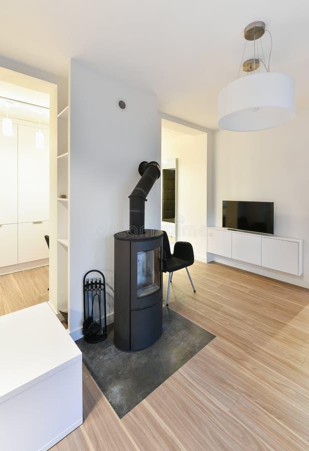 Sala de visitas moderna com chaminé, sistema de aquecimento foto de stock royalty free