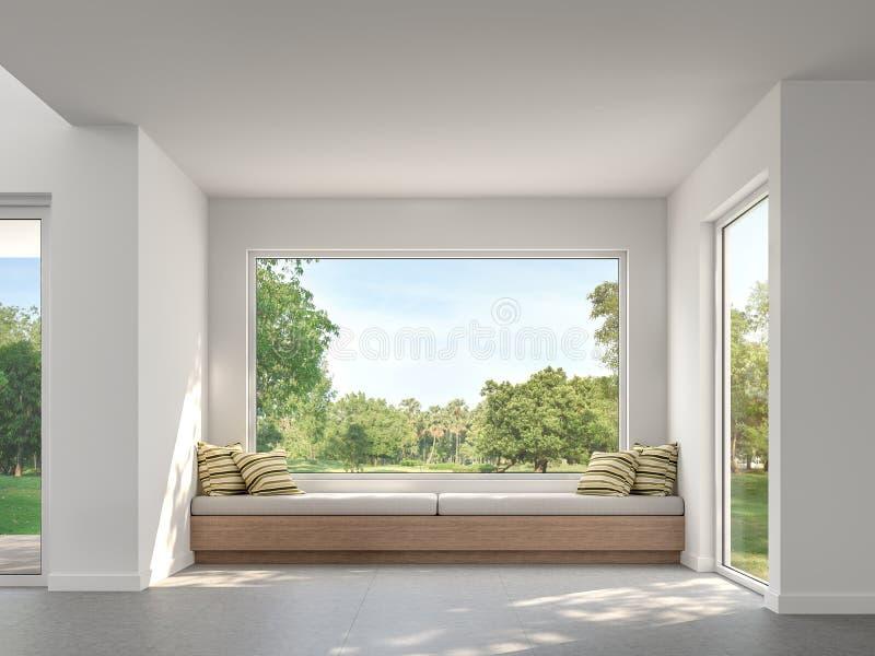 Sala de visitas moderna com opinião 3d do jardim para render ilustração do vetor