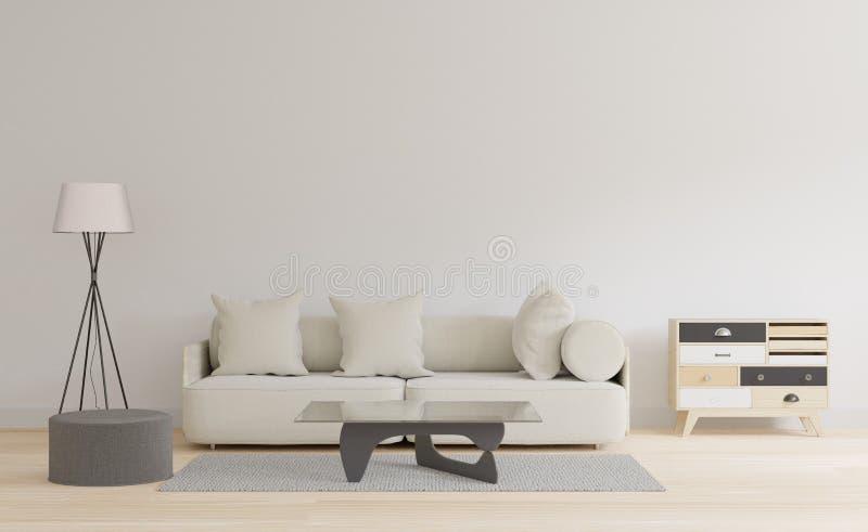 Sala de visitas moderna com parede branca e o assoalho de madeira ilustração do vetor