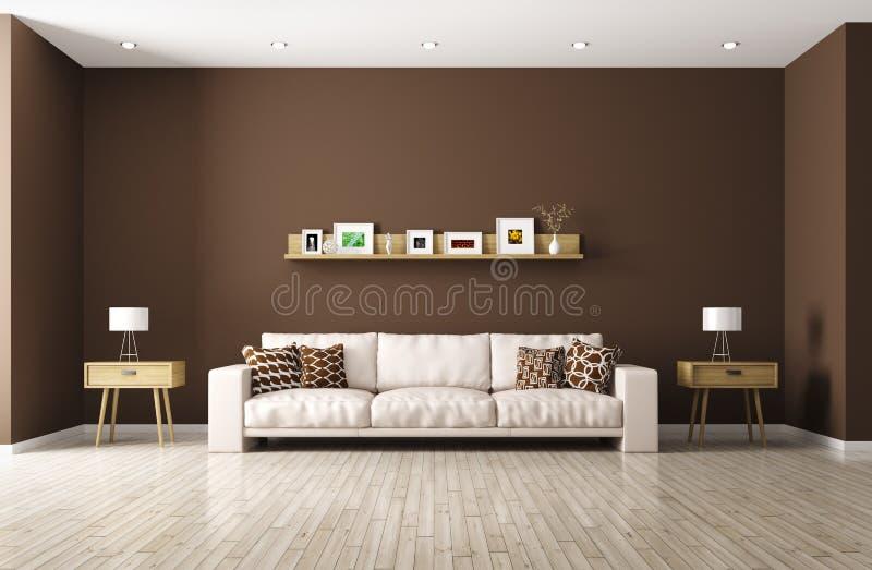 Sala de visitas moderna com rendição bege do sofá 3d ilustração stock