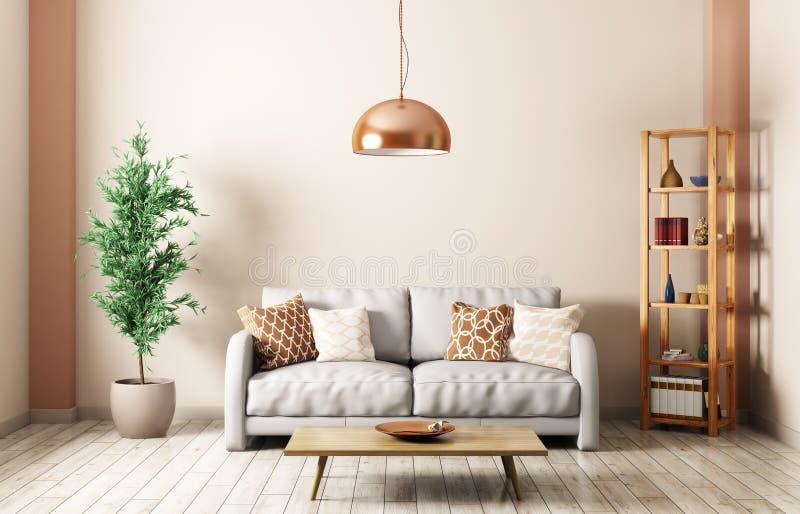 Sala de visitas moderna com rendição 3d interior do sofá ilustração stock