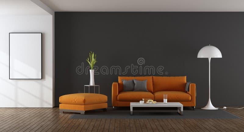 Sala de visitas moderna com sofá alaranjado ilustração do vetor