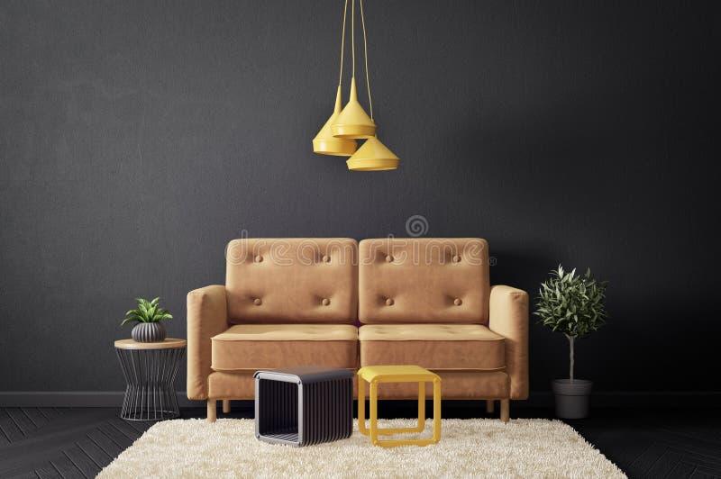 sala de visitas moderna com sofá e a parede preta mobília escandinava do design de interiores ilustração royalty free