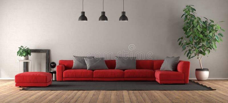 Sala de visitas moderna com sofá vermelho ilustração stock