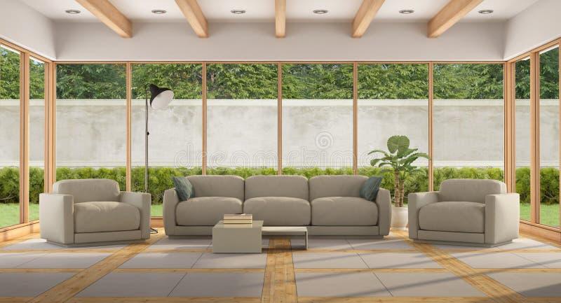 Sala de visitas moderna de uma casa de campo do feriado ilustração stock