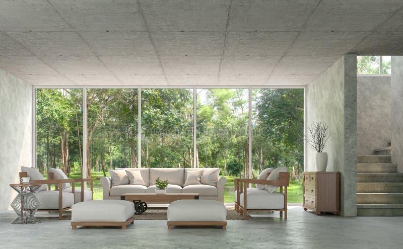 A sala de visitas moderna do estilo do sótão com o 3d concreto lustrado rende ilustração royalty free