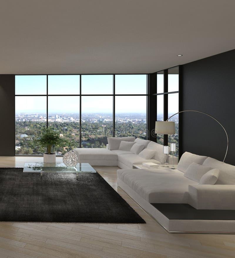 Sala de visitas moderna impressionante do sótão   Interior da arquitetura imagens de stock