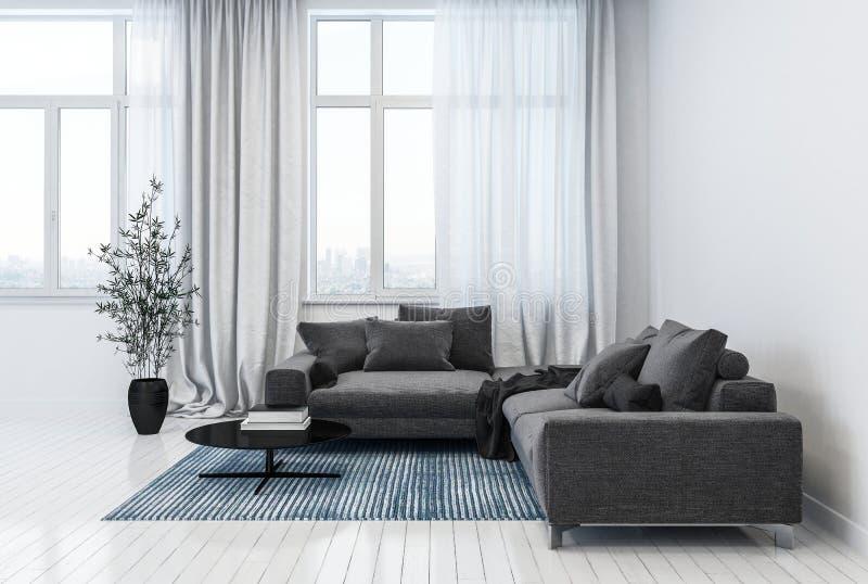 Sala de visitas moderna que contém sofás e potenciômetro da planta ilustração royalty free