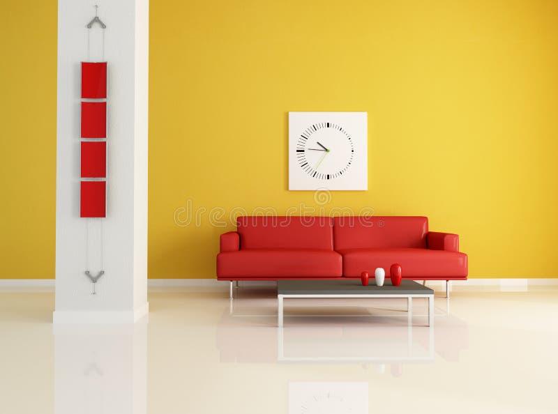 Sala de visitas moderna vermelha e alaranjada ilustração do vetor
