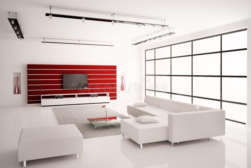 Sala de visitas no interior vermelho branco 3d