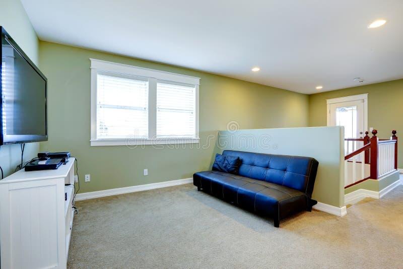 Sala de visitas no tom macio da hortelã com sofá e tevê foto de stock royalty free