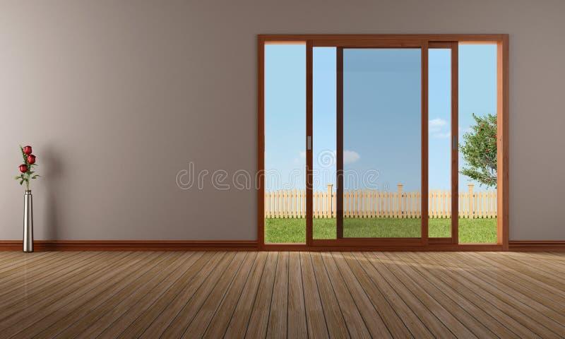 Sala de visitas vazia com a janela de deslizamento aberta ilustração royalty free