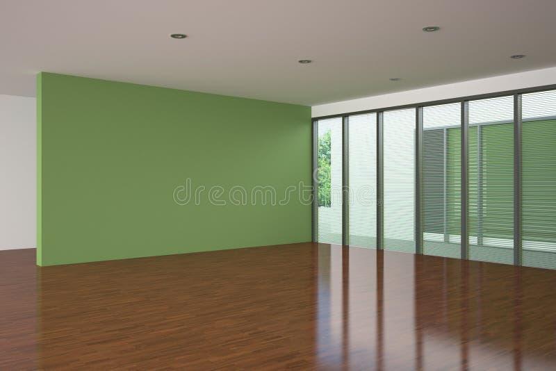 Sala de visitas vazia moderna com parede verde ilustração stock