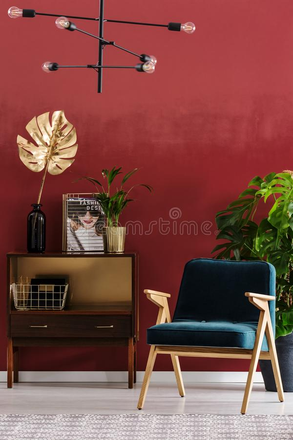 Sala de visitas verde e vermelha fotografia de stock royalty free