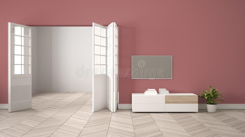 Sala de visitas vermelha moderna com mobília e a tevê brancas, fundo da parede vazia com estar aberto, parquet do herrigbone, fun ilustração stock