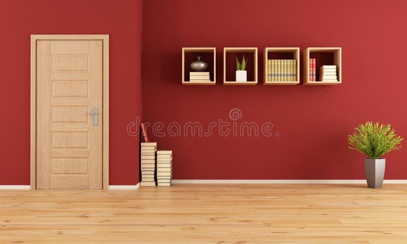 Sala de visitas vermelha vazia ilustração do vetor