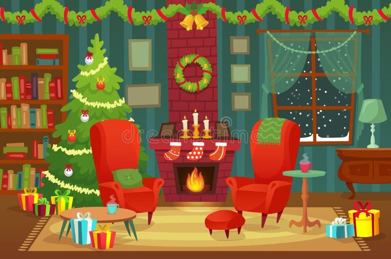 Sala decorada do Natal As decorações interiores de feriado de inverno, a poltrona perto da chaminé e a árvore do xmas vector o fu ilustração stock